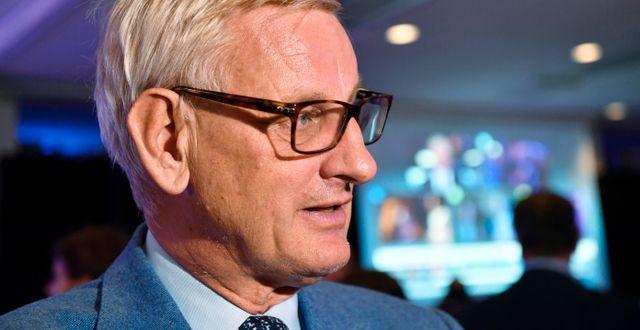 Carl Bildt på Moderaternas valvaka. Henrik Montgomery/TT / TT NYHETSBYRÅN