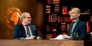 Programledarna Fredrik Lindström och Kristian Luuk i tv-programmet På spåret. Adam Ihse/TT / TT NYHETSBYRÅN