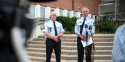 Dansk polis under en presskonferens med anledning av dubbelmordet i Herlev. Nils Meilvang / TT NYHETSBYRÅN