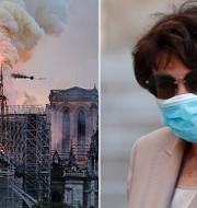 Spiran föll under branden i april förra året. Roselyn Bachelot.