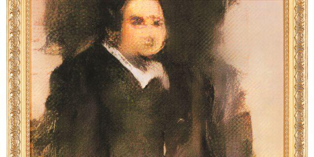 Porträtt av Edmond de Belamy, som såldes på Christie's. Christies / TT NYHETSBYRÅN/ NTB Scanpix