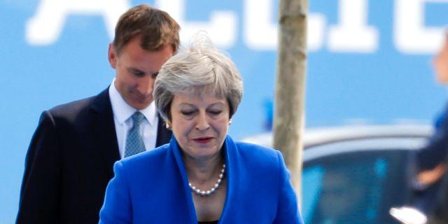 Brittiske utrikesministern Jeremy Hunt och premiärminister Theresa May. DARRIN ZAMMIT LUPI / TT NYHETSBYRÅN