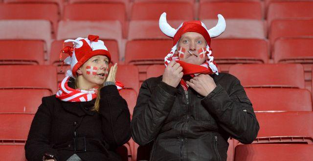 Danska fans vid play off-matchen i Köpenhamn som Sverige vann. Anders Wiklund/TT / TT NYHETSBYRÅN