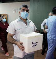 Vårdpersonal i Avellaneda, Argentina, bär på vaccinet.  Natacha Pisarenko / TT NYHETSBYRÅN