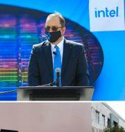 Arkivbilder. Vänster: En arbetare på en chipfabrik i Tyskland. Ovan höger: Intels tillverkningschef Keyvan Esfarjani TT