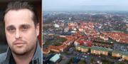 Christian Sonesson (M) och en flygbild över Staffanstorp. TT