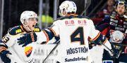 Linus Hultström (vänster) jublar med Marcus Högström. Mikael Fritzon/TT / TT NYHETSBYRÅN
