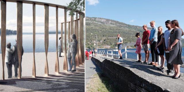 Arkitektritning över monumentet/arkivbild från Utøya. Statsbygg/Manthey kula arkitekt/TT