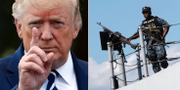 Donald Trump och amerikansk marinsoldat. TT