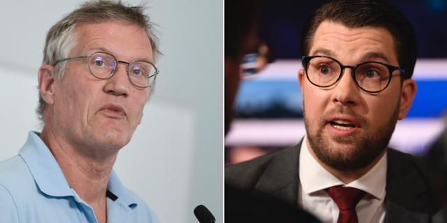 Statsepidemiolog Anders Tegnell och SD-ledaren Jimmie Åkesson.  TT