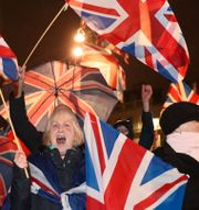 Arkivbild: Brexitanhängare jublade på George Square i Glasgow när Storbritannien formellt gick ur EU den sista januari 2020.  Andrew Milligan / TT NYHETSBYRÅN