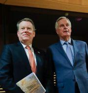 EU:s chefsförhandlare Michael Barnier och Storbritanniens chefsförhandlare David Frost Olivier Hoslet / TT NYHETSBYRÅN