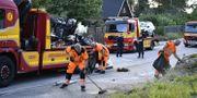 En polisbil krockade med en epatraktor i Täby under natten mot söndagen. Naina Helén Jåma/TT / TT NYHETSBYRÅN