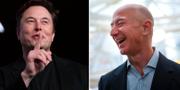 Elon Musk och Jeff Bezos. Lindsey Wasson / TT NYHETSBYRÅN