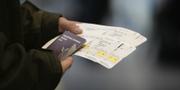 En person håller ett pass och resehandlingar.  TT