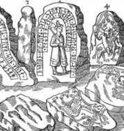 """Stenen, Hunnestadsmonumentet avbildat av Ole Worms """"Monumenta Danica"""" 1643. Axel krogh Hansen"""