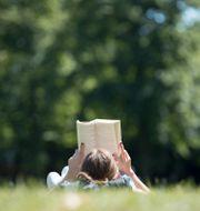 En kvinna som ligger i gräset och läser en bok. Friso Gentsch / TT NYHETSBYRÅN