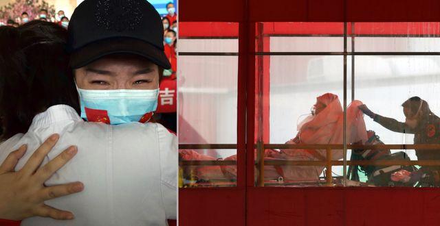 Familjeåterförening i Kina/smittad i New York.  TT