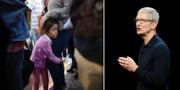 En flicka håller om sin mammas ben vid den mexikanska gränsen i väntan på att familjen ska söka asyl i USA / Tim Cook, vd på Apple.  TT