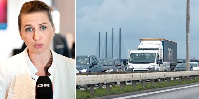 Danmarks statsminister Mette Frederiksen/bilder visar långa köer till Danmark från Sverige. TT