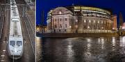 Tåg och riksdagen. TT
