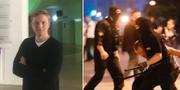 Gustaf Göthberg när han var  i Minsk och bild från demonstrationerna.  Privat/TT