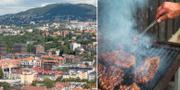 Vy över Oslo/Person som grillar.  TT