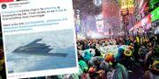 Nyårsfirandet på Times Square. US Strategic Command på Twitter, bilden har senare tagits bort/TT