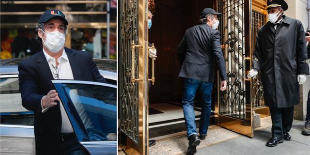Michael Cohen hoppar ur bilen och kliver in i sin lägenhet på Manhattan. TT