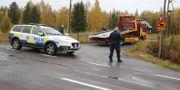 Polis på plats vid järnvägsövergången i Bodens kommun. Pär Bäckström/TT / TT NYHETSBYRÅN