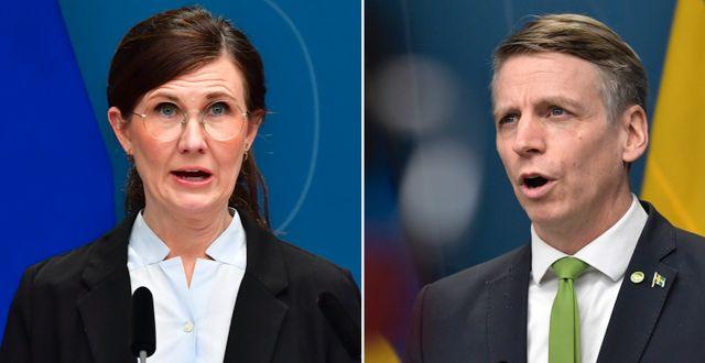Märta Stenevi (MP) äger oljebolag via fonder och partikollegan Per Bolunds sparande är exponerat mot kärnkraft, enligt DN:s granskning. TT