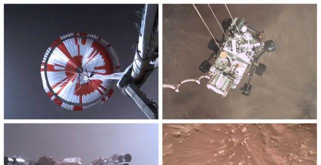 Bilder från när  Perseverance landaxde på Mars. TT NYHETSBYRÅN