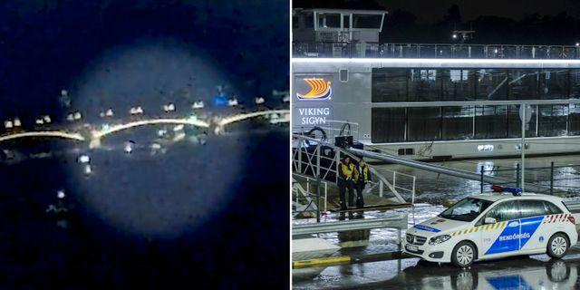 Bilder från en övervakningskamera uppges visa kollisionen/Polis intill kajen där det andra fartyget som var inblandat i olyckan nu ligger förtöjt.