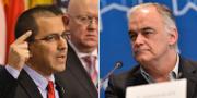 Jorge Arreaza (t.v) och Esteban González Pons EU-parlamentet och TT