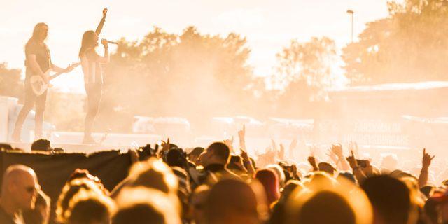 Svenska heavy metal-bandet Hammerfall uppträder på Sweden Rock-festivalen i Norje utanför Sölvesborg. Hanna Franzén/TT / TT NYHETSBYRÅN