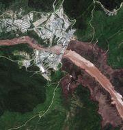 Satellitbild visar dammen. TT NYHETSBYRÅN