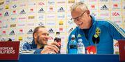 Lagkapten Andreas Granqvist och förbundskapten Janne Andersson under dagens pressträff. JOHANNA LUNDBERG / BILDBYRÅN