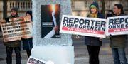 Reportrar utan gränser protesterar utanför Rysslands ambassad i Berlin. Arkivbild från 2014. Axel Schmidt / TT / NTB Scanpix