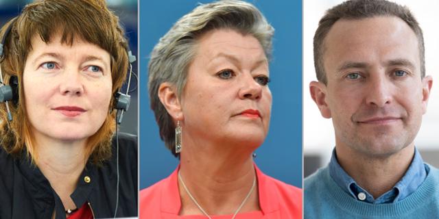 Malin Björk (V), Ylva Johansson (S), Tomas Tobé (M): TT