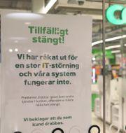 Efter den stora it-attacken tvingades majoriteten av Coops nästan 800 butiker hålla stängt. Ali Lorestani/TT / TT NYHETSBYRÅN