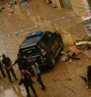 Förstörelse i staden Tafalla efter hällregn och översvämning. Alvaro Barrientos / TT NYHETSBYRÅN/ NTB Scanpix