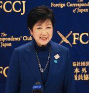 Yuriko Koike i samband med en pressträff på tisdagen. Koji Sasahara / TT NYHETSBYRÅN