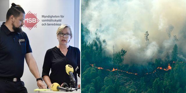 Peter Arnevall och Britta Ramberg / Bild från en av bränderna i Ljusdal TT