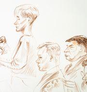 Illustration från rättegången. Håkon Mosvold Larsen / TT NYHETSBYRÅN