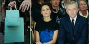 Bernard Arnault tittar på modevisning med franska skådespelerskan Berenice Bejo, arkivbild. TT.