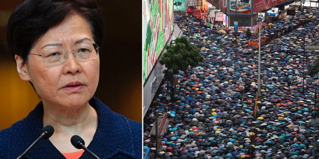 Carrie Lam och demonstration i Hongkong i söndags. AP/TT