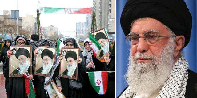 Iranska kvinnor håller upp porträtt av Ali Khamenei under en demonstration/ny bild på Ali Khamenei som släpptes i samband med dagens uttalande. TT