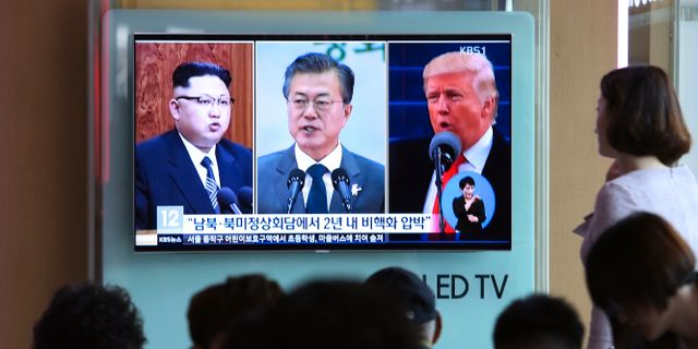 Kim Jong-Un/Moon Jae-In/Donald Trump. Ahn Young-joon / TT / NTB Scanpix