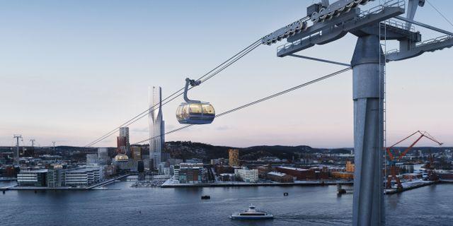 Skiss över hur linbanan i Göteborg skulle se ut.  Göteborgs Stad