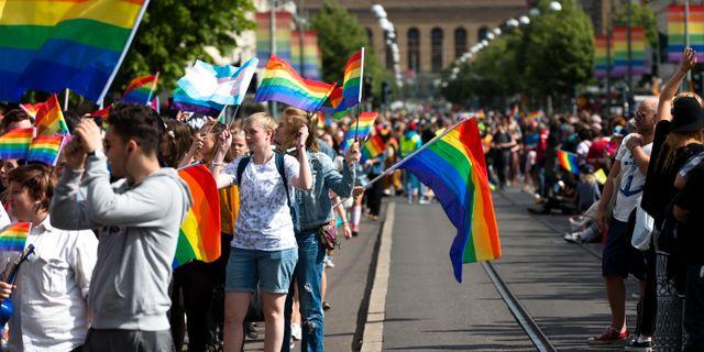 På lördagen gick Göteborgs prideparad från Götaplatsen till Regnbågsparken (Bältesspännarparken) under West Pride-festivalen. Thomas Johansson/TT / TT NYHETSBYRÅN
